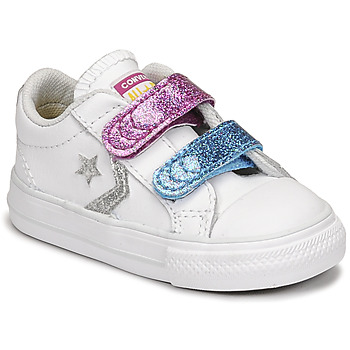 Skor Flickor Sneakers Converse STAR PLAYER 2V GLITTER TEXTILE OX Vit / Blå / Rosa