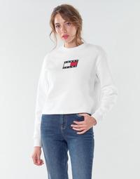 textil Dam Sweatshirts Tommy Jeans TJW TOMMY FLAG CREW Vit
