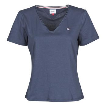 textil Dam T-shirts Tommy Jeans TJW SLIM JERSEY V NECK Marin