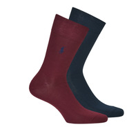 Accessoarer Herr Strumpor Polo Ralph Lauren ASX70 2 PACK MERCERIZED COTTON Marin / Bordeaux