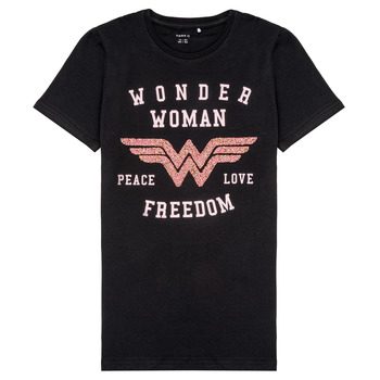 textil Flickor T-shirts Name it NKFWONDERWOMEN Svart