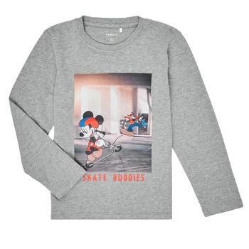 textil Pojkar Långärmade T-shirts Name it NMMMICKEY EMIL Grå