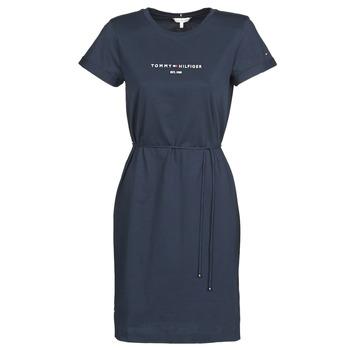 textil Dam Korta klänningar Tommy Hilfiger TH ESS HILFIGER REG C-NK DRS SS Marin