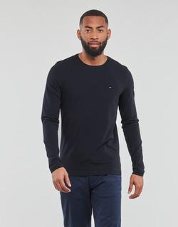 textil Herr Långärmade T-shirts Tommy Hilfiger STRETCH SLIM FIT LONG SLEEVE TEE Svart