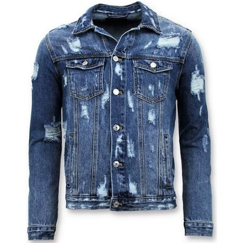 textil Herr Jeansjackor Enos Denim Jacket Ripped Denim RJ Blå