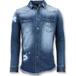 textil Herr Långärmade skjortor Enos Long Denim Shirt S Denim Blouse Blå