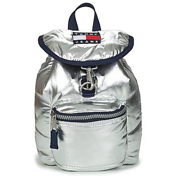 Väskor Dam Ryggsäckar Tommy Jeans TJW HERITAGE SM PUFFER BACKPACK Silverfärgad