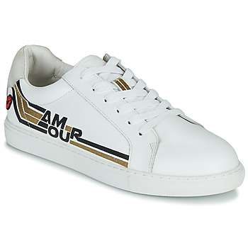 Skor Dam Sneakers Bons baisers de Paname SIMONE AMOUR RETRO Vit / Guldfärgad