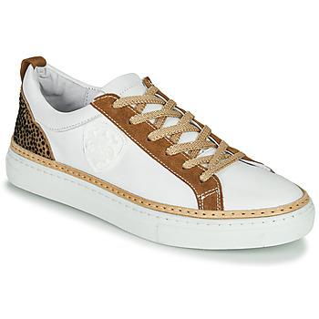 Skor Dam Sneakers Philippe Morvan CORK V1 NAPPA BLANC Vit / Kamel