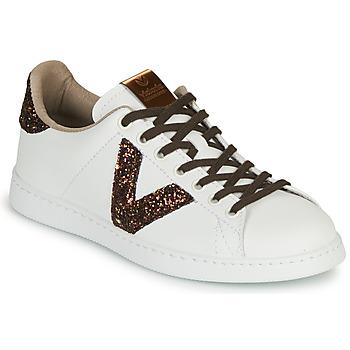 Skor Dam Sneakers Victoria TENIS PIEL VEG Vit / Brun