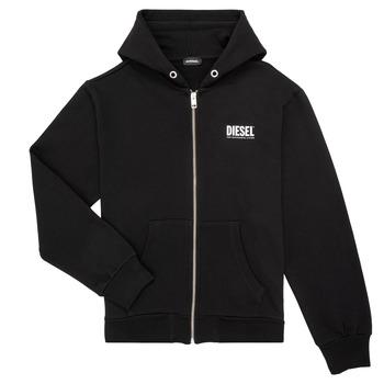 textil Pojkar Sweatshirts Diesel SGIRKHOODZIP LOGO Svart
