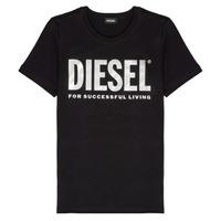 textil Flickor T-shirts Diesel TSILYWX Svart