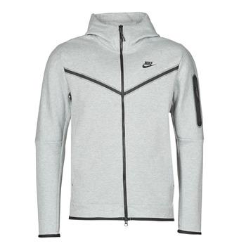 textil Herr Sweatjackets Nike M NSW TCH FLC HOODIE FZ WR Grå / Svart