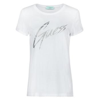 textil Dam T-shirts Guess SS CN IVONNE TEE Vit