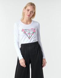 textil Dam Långärmade T-shirts Guess LS CN VILMA TEE Vit