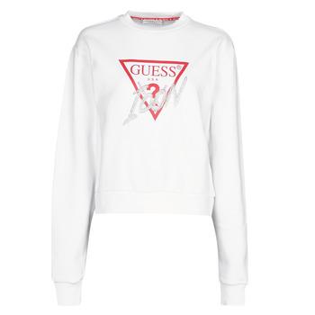 textil Dam Sweatshirts Guess ICON FLEECE Vit
