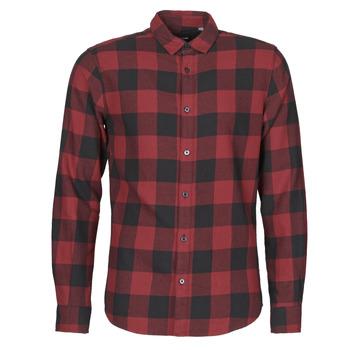 textil Herr Långärmade skjortor Only & Sons  ONSGUDMUND Bordeaux / Svart