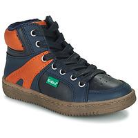 Skor Pojkar Höga sneakers Kickers Lowell Marin / Orange