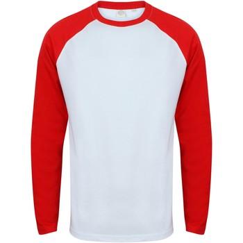 textil Herr Långärmade T-shirts Skinni Fit SF271 Vit / röd