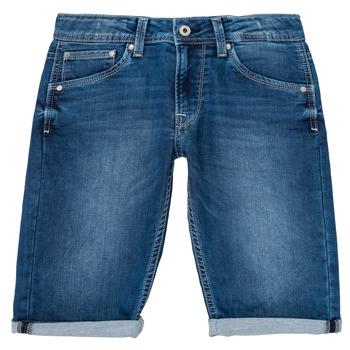 textil Pojkar Shorts / Bermudas Pepe jeans CASHED SHORT Blå