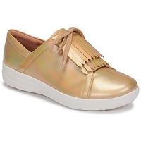 Skor Dam Sneakers FitFlop F-SPORTY II LACE UP FRINGE SNEAKERS-IRIDESCENT LTR Guldfärgad