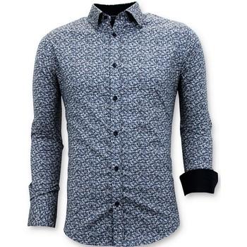 textil Herr Långärmade skjortor Tony Backer Skräddarsydda Shirts Slim Fit Blå