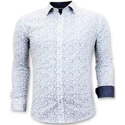 textil Herr Långärmade skjortor Tony Backer Italiensk Skjorta Slim Fit Digital Printing Vit