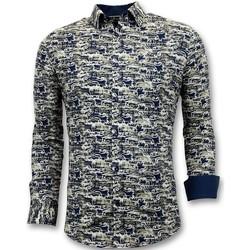 textil Herr Långärmade skjortor Tony Backer Lyxig Shirts Digitaltryck Slim Fit Blå
