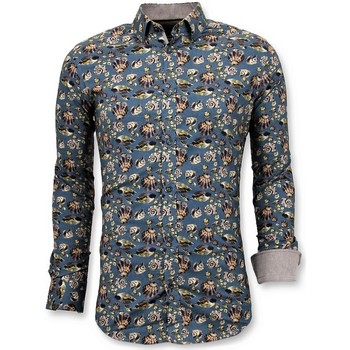 textil Herr Långärmade skjortor Tony Backer Lyx Italienska Skjorta Digital Floral Print Grön