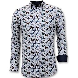 textil Herr Långärmade skjortor Tony Backer Lyx Mode Herr Digital Printing Vit