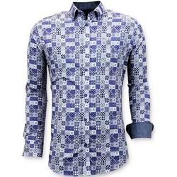 textil Herr Långärmade skjortor Tony Backer Lyx Iga Digital Printing Blå