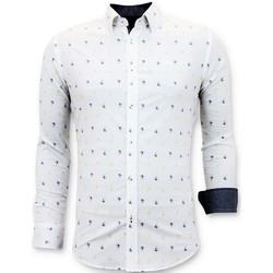 textil Herr Långärmade skjortor Tony Backer Italienska Herr Slim Fi Vit