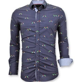 textil Herr Långärmade skjortor Tony Backer Lyx Italienska Blouse Digital Print Fågel Blå
