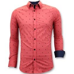 textil Herr Långärmade skjortor Tony Backer Italiensk Blouse Slim Fit Röd