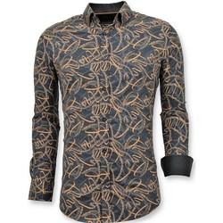 textil Herr Långärmade skjortor Tony Backer Lyx Snygg Skjorta Digitaltryck Svart