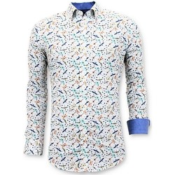 textil Herr Långärmade skjortor Tony Backer Lyx Herr Digital Print Slim Fi Vit