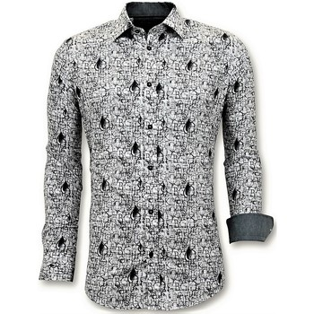textil Herr Långärmade skjortor Tony Backer Lyx Sitt Free Shirts Digital Printing Vit