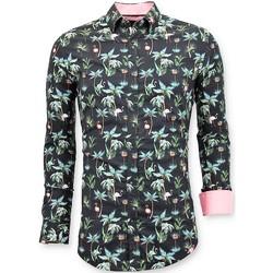 textil Herr Långärmade skjortor Tony Backer Lyx S Digital Blommönster Svart