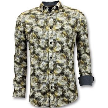 textil Herr Långärmade skjortor Tony Backer Lyx Shirts Digital Print Slim Fi Gul