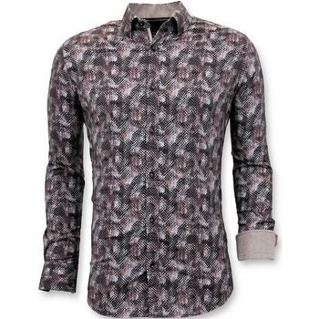textil Herr Långärmade skjortor Tony Backer Lyx Slim Fit Blouse Digitaltryck Brun
