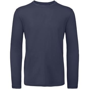 textil Herr Långärmade T-shirts B And C TM070 Marinblått