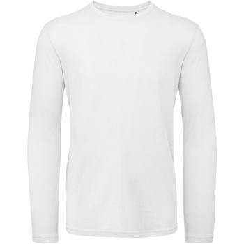 textil Herr Långärmade T-shirts B And C TM070 Vit