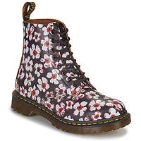 Skor Dam Boots Dr Martens 1460 PASCAL Svart / Vit / Röd