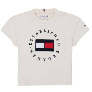 textil Flickor T-shirts Tommy Hilfiger KG0KG05503-Z00-J Beige