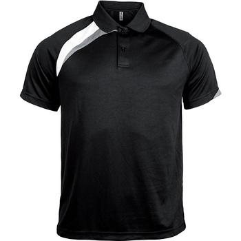 textil Herr Kortärmade pikétröjor Proact Polo manches courtes  Sport noir/blanc/gris clair