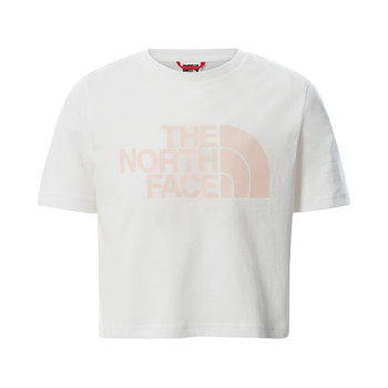 textil Flickor T-shirts The North Face EASY CROPPED TEE Vit