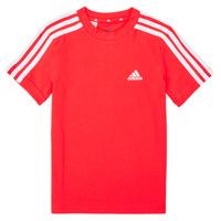 textil Pojkar T-shirts adidas Performance B 3S T Röd
