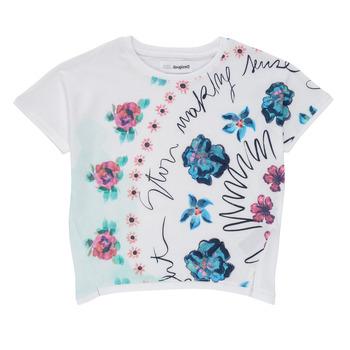 textil Flickor T-shirts Desigual 21SGTK02-1000 Vit