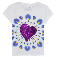 textil Flickor T-shirts Desigual 21SGTK45-1000 Vit