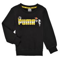 textil Pojkar Sweatshirts Puma SNOOPY PEANUTS CREW Svart